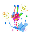 abstract hand palm show victory sign doodle design vector image