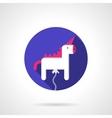 White unicorn balloon round flat icon vector image