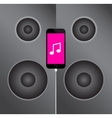 mobile phone icon on the background music speakers vector image