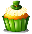 A cupcake with a green hat vector image vector image