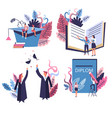 academic hat and graduated students school or vector image vector image