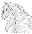 adult coloring bookpage a cute horse image vector image vector image