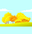 autumn countryside yellow trees field blue vector image vector image