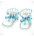 Baby blue booties isolated on white vector image vector image