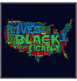 black lives matter typography with us map vector image