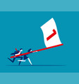 business team holding flag number one and running vector image vector image