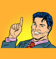businessman pointing up vector image vector image