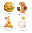 cartooon fast food characters with cheerful human vector image vector image