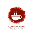coffee cup icon - red watercolor circle splash vector image