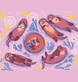 cute lovely sea otters pattern vector image vector image