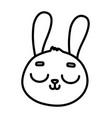 cute rabbit face close eyes cartoon icon thick vector image vector image