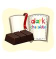 Dark chocolate bar and a book vector image vector image