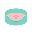 Dog Cat Pet bed icon Paw print Sleeping pad vector image