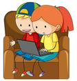 doodle children playing computer vector image