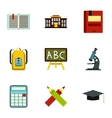 Education icons set flat style vector image