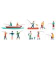 fisherman fisher in boat with spinning sportsman vector image vector image