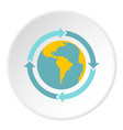 globe with blue arrows icon circle vector image