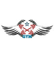 gym symbol with wings vector image