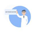 hair transplantation card in hands a man doctor