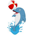 happy dolphin cartoon playing ball vector image vector image