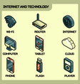 internet and technology icons vector image vector image
