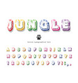 jungle 3d bright font funny cartoon abc letters vector image