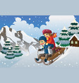 kids sledding in the snow vector image vector image