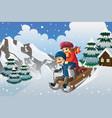 kids sledding in the snow vector image