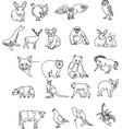 line set domestic farm and wild animals modern vector image