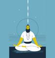 male yogi with beard sits cross legged vector image