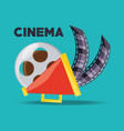 megaphone and reel with filmstrips to short film vector image vector image