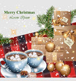 merry christmas card with gifts and hot chocolate vector image vector image