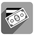 Money Flat Square Icon with Long Shadow vector image vector image