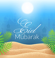 morning landscape wallpaper with mosques vector image vector image