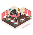 musicians romantic cafe isometric composition vector image vector image