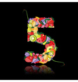 number five made from fruits vector image vector image