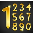 Number set in golden style on black background vector image