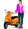 orange city scooter and fashion girl vector image vector image