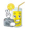photographer lemon juice glass on character table vector image