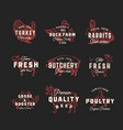 retro cattle and poultry logo templates set vector image vector image