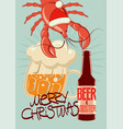 retro christmas beer poster with lobster-santa vector image
