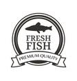 round monochrome fish silhouette logotype vector image