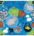 Seamless background with cute bunny and autumn vector image