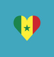 senegal flag icon in a heart shape in flat design vector image vector image
