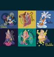 set isolated indian gods meditation in yoga vector image