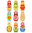 set nine colorful nesting dolls vector image