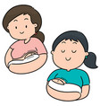set of breast feeding mother and baby vector image