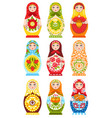 set of nine colorful nesting dolls vector image