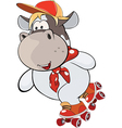 small cow on roller skates cartoon vector image vector image
