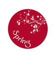 spring sakura red circle white background i vector image vector image